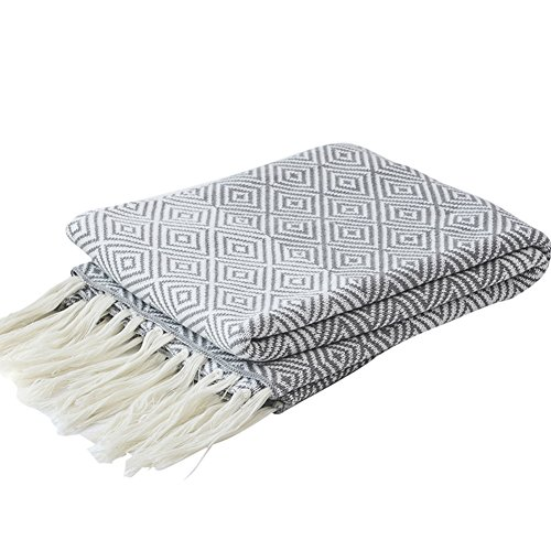 LakeMono 100% Cotton Knitted Throw Blanket, Couch/Sofa/Bed Maze Pattern Super Soft Cover Blanket with Handmade Tassels (Grey, 59''x 67'')
