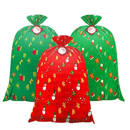 Christmas large bag Jumbo Gift Bag,Christmas Giant Gift Bags extea-Large-Gift-Bag for Gifts - 36' x 44' Christmas Prints