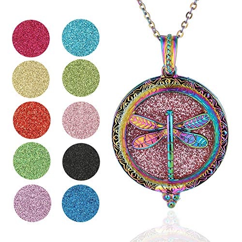 Soleebee Aromatherapy Essential Oil Diffuser Necklace Stainless Steel Locket Pendant Necklace 19.7'' Perfume Necklace with 10 Felt Pads (Colorful Dragonfly)