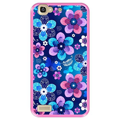 Custodia per [ Huawei P8 Lite Smart - GR3 ] Disegni [ Motivo Floreale Primaverile ] Cover Guscio in Silicone Flessibile Rosa TPU