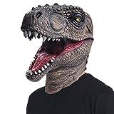 ReneeCho Novelty Halloween Costume Dinosaur Mask Latex Raptor Animal Head T-rex Jurassic