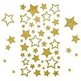Kesote 5 Hojas de Pegatinas de Navidad Pegatinas Decorativas con Purpurina Estrellas Doradas para DIY Manualidades