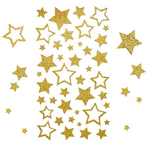 Kesote 210x Sticker Stern Aufkleber Glitzer Gold Etiketten Selbstklebend zum Basteln für Weihnachten Deko Geschenk