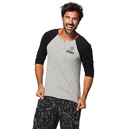 Zumba Fitness High Beam Baseball tee Camiseta, Hombre, Gris, XS