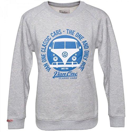 Van One Herren Sweatshirt VW Bulli Face hellgrau/blau - M