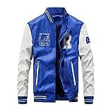 YXSSC Chaqueta de Cuero de los Hombres de béisbol Bordada PU Coats Fit Colegio paño Grueso y Suave Collar del Soporte de la Capa Superior de la piloto Chaquetas para Hombre,Azul,XXXXL