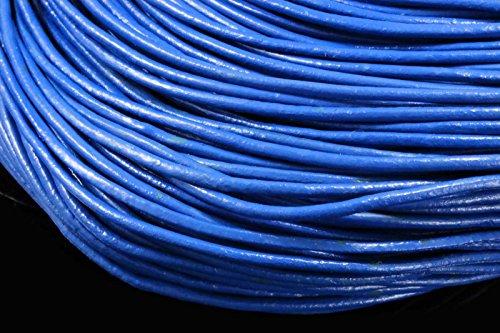 INWARIA Lederband Ø 1/2/3 mm Lederriemen Rindsleder Echt Leder rund Lederschnur (3mm - 1m, Blau)