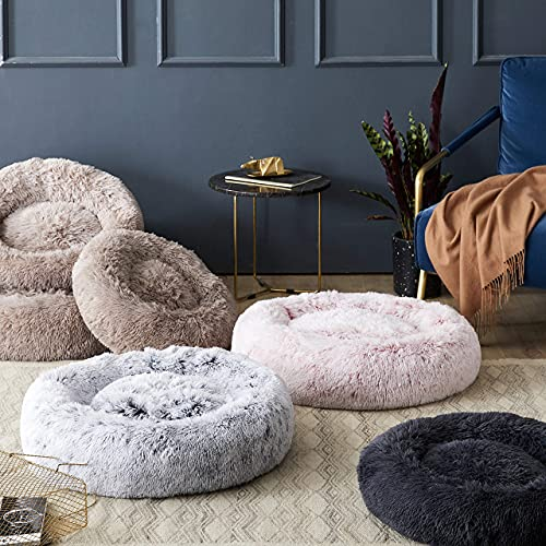"""Western Home Faux Fur Dog Bed & Cat Bed, Original Calming Dog Bed for Small Medium Large Pets, Anti Anxiety Donut Cuddler Round Warm Washable Cat Bed for Indoor Cats(24"""", Light Grey)"""