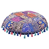 Jaipurstudio Blue Indian Ethnic Bohemian Floor Pillow Cover 32 Inch Patchwork Meditation Ottoman Stool Home Decor Embroidered Vintage Cotton Round Floor Cushions Seating for Adults 32x32