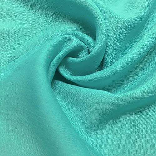Rayon Challis Fabric 100% Rayon 53/54' Wide Sold by The Yard Many Colors (Aqua, 5 Yards)