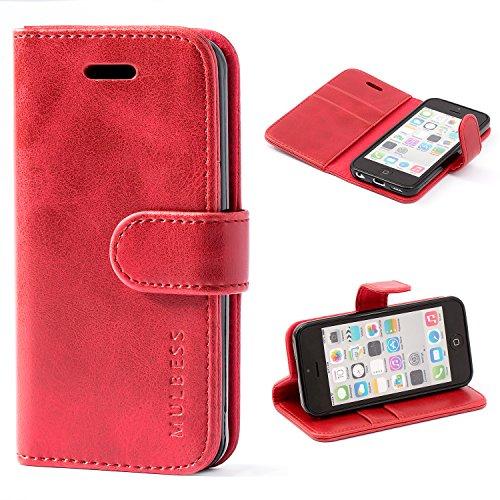 Mulbess Handyhülle für iPhone 5c Hülle Leder, iPhone 5c Handy Hüllen, Vintage Flip Handytasche Schutzhülle für iPhone 5c Case, Wein Rot