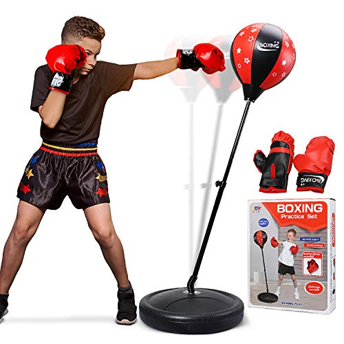 TOY Life Punching Bag with Boxing Gloves, Boxing Bag for Kids, Boxing Toy with Adjustable Stand, Gifts for 5 - 14 Year Old Boys and Girls