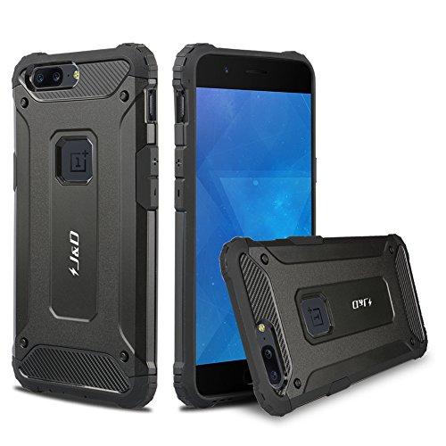 JundD Kompatibel für OnePlus 5 Hülle, [ArmorBox] [Doppelschicht] [Heavy-Duty-Schutz] Hybrid Stoßfest Schutzhülle für OnePlus 5 - Schwarz