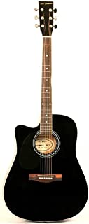 Jameson Guitars Full Size Thinline Acoustic Electric Guitar with Free Gig Bag Case & Picks Black Left Handed