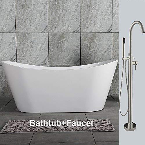 Woodbridge 59' Acrylic Freestanding Bathtub Soaking Tub Brushed Nickel with Faucet