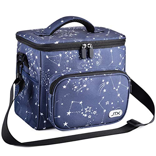 JTX Lunch Bags for WomenMen Adult Insulated Lunch Box with Adjustable Shoulder StrapFront Zipper Pocket and Dual Large Mesh Side Pockets for Office WorkSchool Picnic Beach StarNavy Blue