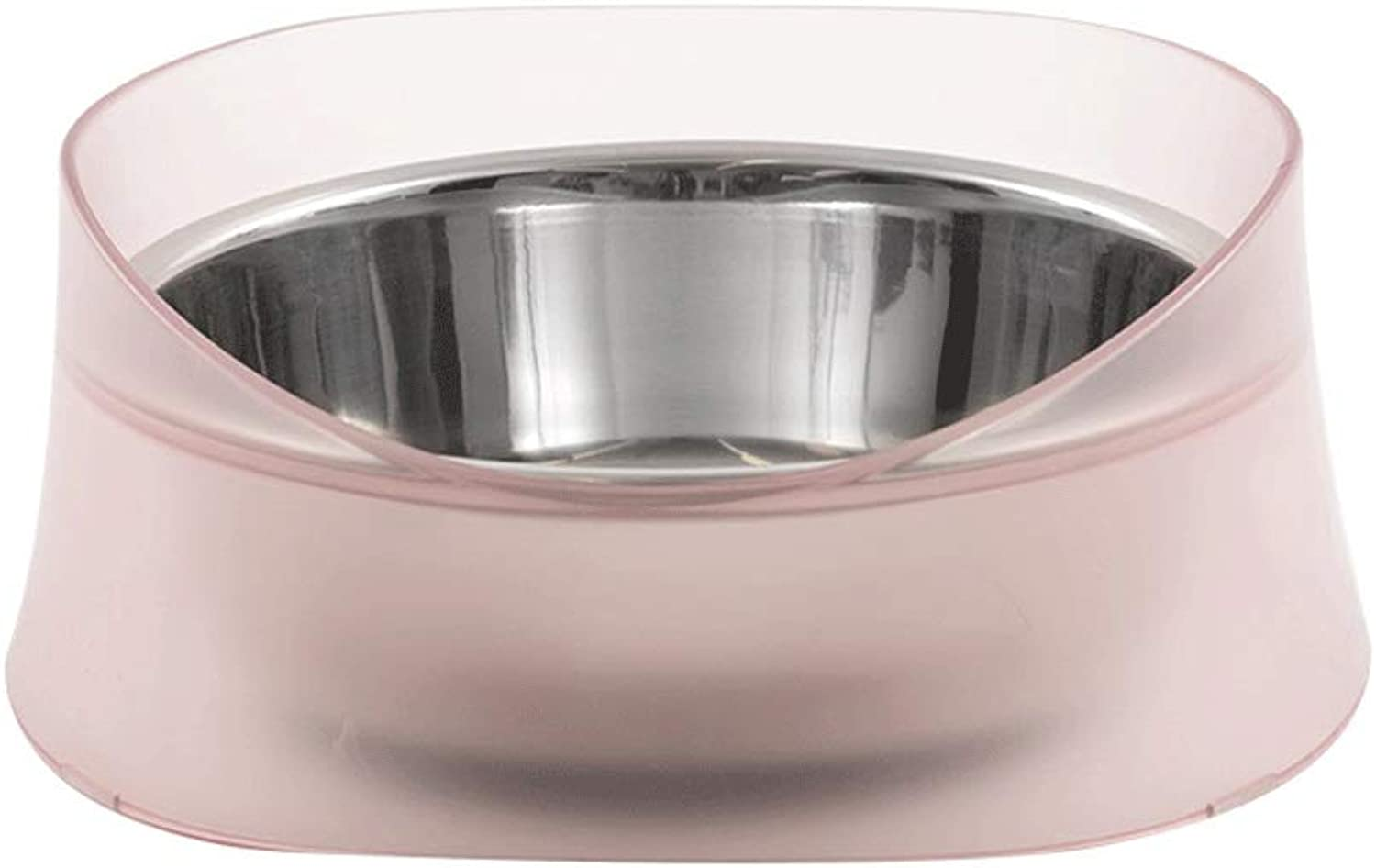 5GHjkj Stainless Steel Pet Bowl Dog LeakProof Bowl Large Single Bowl Rice Bowl NonSlip ShatterResistant Removable Large and Small Dogs Pet Supplies (color   Pink)