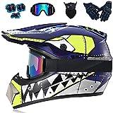 Casco de Motocross Conjunto de Casco de Motocicleta (Rodilleras, Guantes, Vasos, mscara Facial) Adecuado para su Uso por Adultos jvenes,Azul,S55~56CM