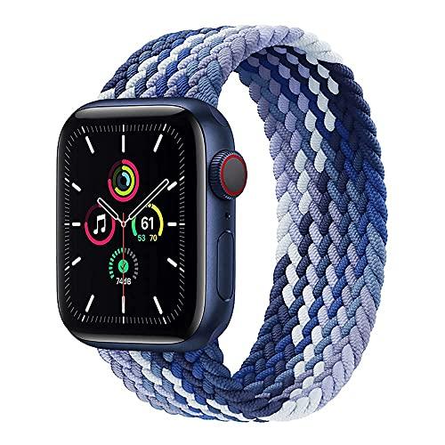 Bracelet en nylon tressé Compatible avec Apple Watch 40mm 38mm 44mm 42mm Solo Loop Élastique Nylon Tissé Bracelet de Remplacement pour iWatch Serie 6/SE/5/4/3/2,Blueberry gradient 38mm/40mm-L