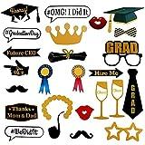 Photo Booth Props Graduación 2020, Hongyans 28 Piezas DIY Accesorios Photocall Brillo Divertido Bigotes Labios Gafas Sombrero Cabina de Fotos para Decoración de Fiesta Graduación (28 Piezas)