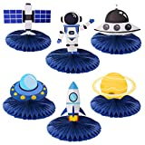 Kyson Outer Space Honeycomb Paper Fan Centerpieces Out Space Party Table Decorations Galaxy Rocket UFO Astronaut Space Themed Birthday Party Baby Shower Supplies 6pcs