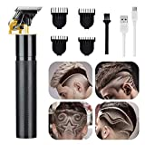 Hair Clippers for Men, Electric Cordless Hair Trimmer, Professional T-Blade Hair Clipper, USB Rechargeable 0mm Gapped Baldheaded Hair & Beard Trimmer for Home & Barbershop