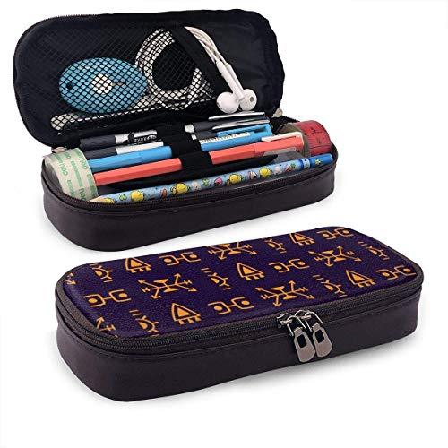 XCNGG Estuche de lápiz de cuero de PU de Doodle étnico con cremallera, útiles escolares para estudiantes, monedero, bolsa de maquillaje cosmético