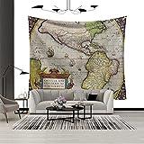 Tapiz, tapiz de patrón de mapa del mundo, dormitorio de tela de...