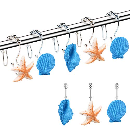 COTOPHER Shower Curtain Hooks, Set of 12 Resin Decorative Starfish Conch Seashell Shower Curtain Hooks for Bathroom, Baby Room, Bedroom, Living Room Decor (Starfish 1-Blue)