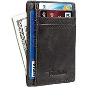 Travelambo Front Pocket Minimalist Leather Slim Wallet RFID Blocking Medium Size(Vintage Black Premium)