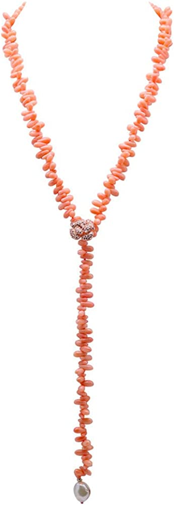JYX Pearl Natural Coral Beads Y Necklace 5×10.5mm Orange Pink Drop Shape Sweater Necklace Adjustable 32.5