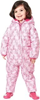 Snozu Baby Girl's Weatherproof Fleece Lined Hooded Snowsuit, Pink Mosaic, 9/12m