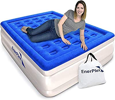 EnerPlex Luxury Queen Deluxe Raised Air Mattress with Built in Pump Flocked Top Inflatable Upgraded Queen Size Airbed with Built-in Pump Elevated Raised Air Mattress Blow Up Bed & 2-Year Warranty