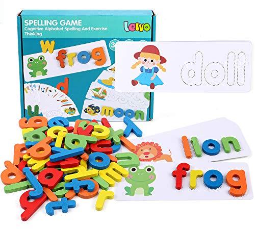 Lewo Scrabble Buchstaben AlphabetPuzzle ABC Buchstaben Holz Buchstaben Lernen Holzspielzeug Lernspielzeug ab 2 3 4 5 6 Jahren für Baby Kleinkinder Kinder Jungs Mädchen