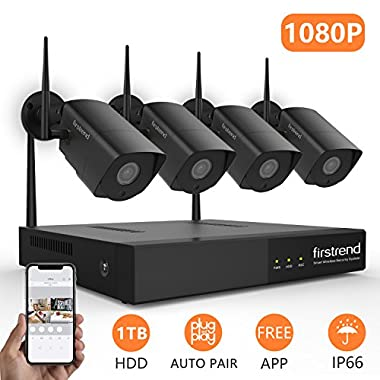 [Expandable System]Wireless Security System, Firstrend 8CH 1080P Security Camera System Wireless with 4pcs HD Security Camera and 1TB Hard Drive Pre-installed,P2P Home Video Surveillance System[Black]