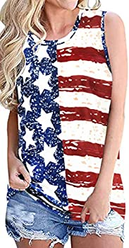 American Flag Tank Tops for Women Summer Tops Sleeveless Tshirts Casual Loose Tunic Blouses  US L