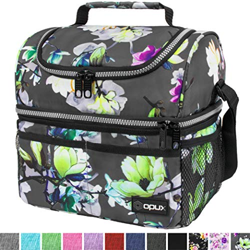 Insulated Dual Compartment Lunch Bag for Women, Ladies | Double Deck Reusable...