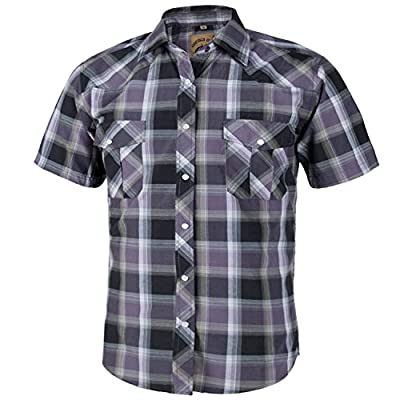 Coevals Club Men's Short Sleeve Casual Western Plaid Press Buttons Shirt