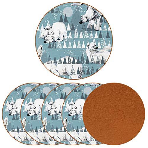 Posavasos para bebidas, diseño de osos polares en colinas con impresión de piel redonda para proteger muebles, resistente al calor, decoración de bar de cocina, juego de 6
