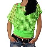 Crazy Age - Camiseta de verano para mujer, en diseño de red, a la moda, para verano, fiestas, en colores neón verde neón S-M