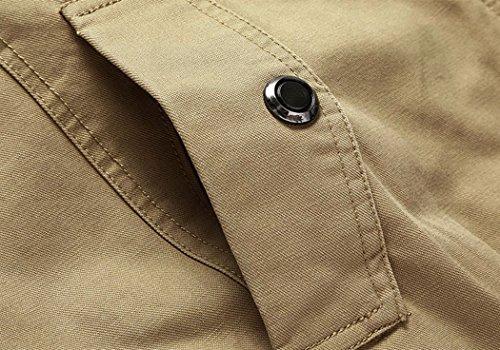 Wantdo Men's Cotton Stand Collar Windbreaker Jacket US Medium Khaki