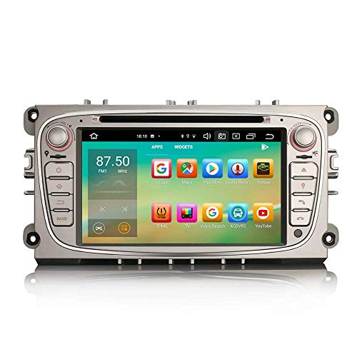 JIBO Android 10.0 7' Toque Pantalla Coche Estéreo GPS Navegación para Ford Focus Mondeo S/C-MAX Galaxy Multimedia Jugador Apoyo SWC Posterior Ver Cámara Nav Sat Cabeza Unidad