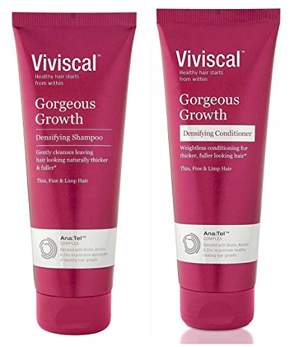 Viviscal Naturals Gorgeous Growth Densifying Shampoo and Conditioner Bundle With Lemon, Mandarin Orange, Camphor, Nutmeg, Patchouli, Coriander, Eucalyptus, Pea, Clary and Limonene, 8.45 fl. oz. each