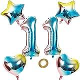 Globos con número 11 número 11, arco iris 11, 11, 80 cm, XL para niñas y niños, hinchables, diseño de corazón