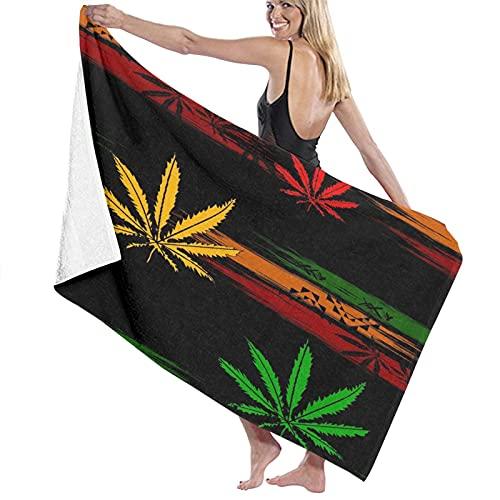 FOURFOOL Toalla de Playa de Microfibra,Resumen de Green Ganja Rasta de Marihuana Cannabis en Dibujos Animados de Colores Rastafari,Toalla Deportiva Secado Rápido Absorbente Viajes Playa Camping