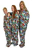 Ugly Christmas Sweater Hoodie Plush Footed Pajamas Onesie w/ Drop Seat (M)