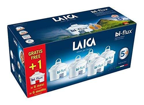 Oferta de Pack de 6 filtros (5+1) bi-flux que mejoran el sabor del agua, reducen la cal y el cloro, compatibles con las jarras Laica y Brita entre otras. Cada filtro dura 150 litros o 1 mes.