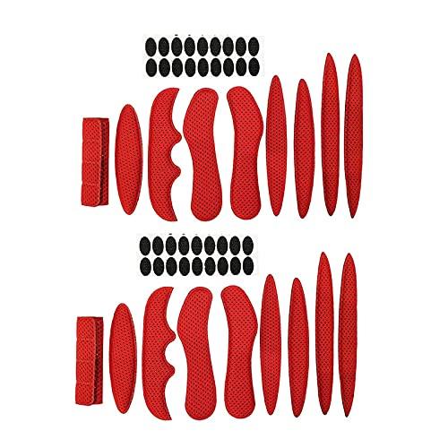 1/2 Juego De Kit De Acolchado para Casco,Juego De Almohadillas De Espuma Universales De Repuesto para Bicicleta, Almohadillas Universales De EVA para Casco Airsoft 2set, Rojo