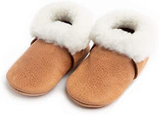 Rubber Mini Sole Leather Shearling Moccasins - Toddler Girl/Boy Shoes - Infant Sizes 3-7 - Multiple Colors