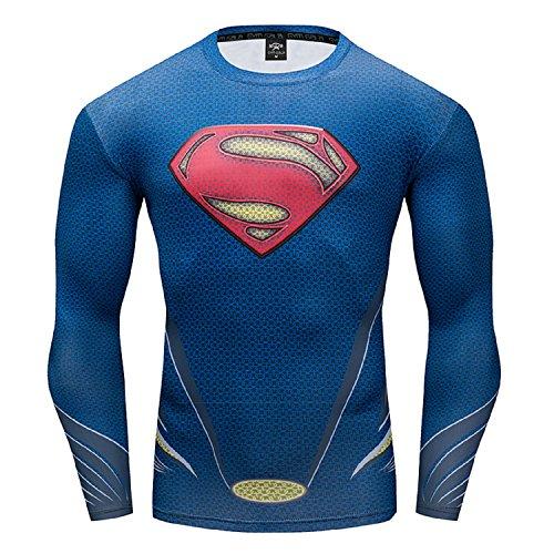 GYM GALA Superman Men Long Sleeve Fitness Compression Shirt (Medium, Blue)